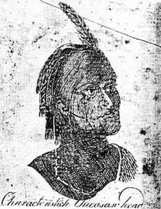 Chickasaw - A sketch of a Chickasaw by Bernard Romans, 1775