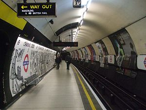 Charing Cross tube station - Northern line southbound platform at Charing Cross, looking north