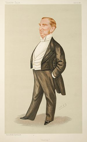 "Charles Hall (lawyer) - ""Charley"" as caricatured by Spy (Leslie Ward) in Vanity Fair, February 1888"