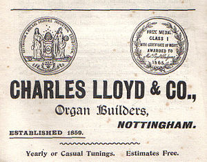 Charles Lloyd (organ builder) - Advertisement from the Illustrated Guide to the Church Congress 1897
