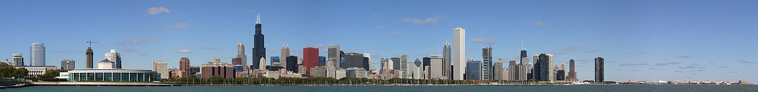 A panoramic view of the Chicago Skyline stretching from Shedd Aquarium to Navy Pier taken from Adler Planetarium..