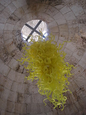 Tower of David - A Dale Chihuly chandelier hangs in the entrance hall of the Tower of David Museum.
