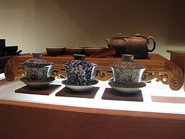Chinese tea set and three gaiwan.jpg