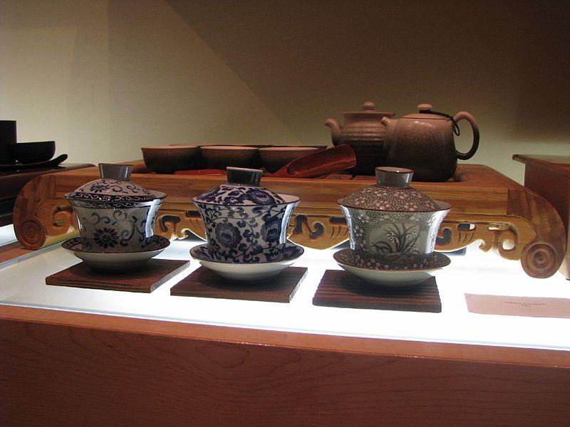 Chinese tea set and three gaiwan.jpg