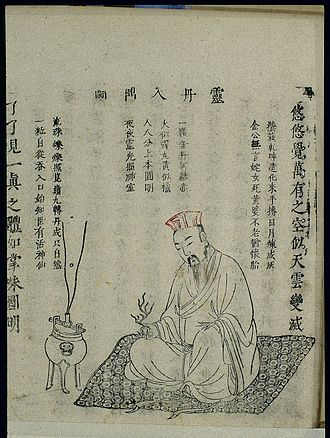 """Neidan - Chinese woodblock illustration of neidan """"Putting the miraculous elixir on the ding tripod"""", 1615 Xingming guizhi 性命圭旨 (Pointers on Spiritual Nature and Bodily Life)"""