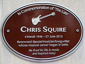 Chris Squire - Brown plaque in Warwick Street, Soho, London