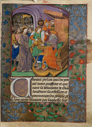 Christ before Pilate, with Pilate washing his hands