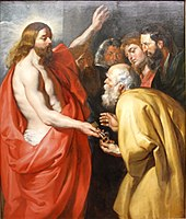 Christ giving the Keys of Heaven to St. Peter by Peter Paul Rubens - Gemäldegalerie - Berlin - Germany 2017.jpg
