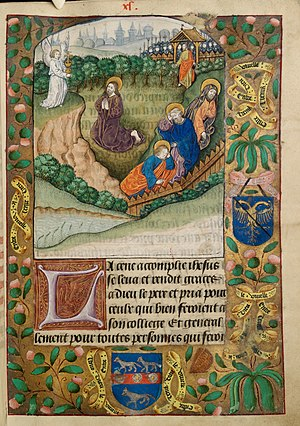 Christ praying in the garden of Gethsemane. Two shields of unidentified arms in borders, with motto 'Entre tenir Dieu le viuelle'