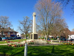 Church Green in Harpenden Town Centre during Spring.