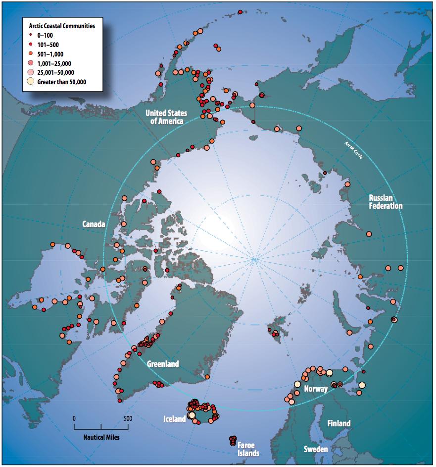 Circumpolar coastal human population distribution ca. 2009