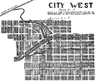 City West, Indiana - The planned layout of City West, Indiana, as recorded in 1837 by one of its founders, Jacob Bigelow.
