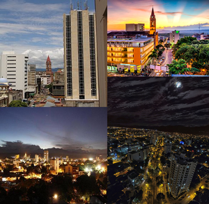 Neiva, Huila - From left to right: Neiva downtown, sunset, sunrise, and La Toma Av. at night.
