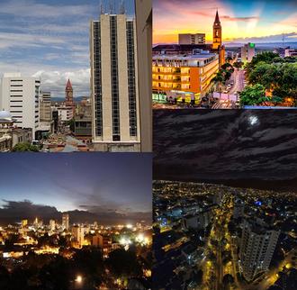 Neiva, Huila - From left to right: Neiva downtown, sunset, sunrise, and La Toma Av. at night.