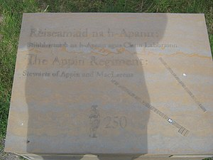 Clan Stewart of Appin - Clan Stewart of Appin regiment marker at the site of the Battle of Culloden