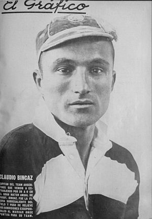 Claudio Bincaz - Bincaz in 1927 with the San Isidro rugby union team.