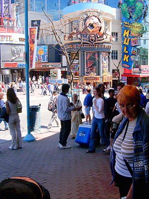 Clifton Hill, Niagara Falls - Same corner on a busy spring day, 2005. WWE Niagara Falls and the MGM Movie Experience, pictured, are no longer operating.