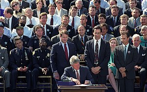 Federal Assault Weapons Ban - President Bill Clinton signing the bill into law.