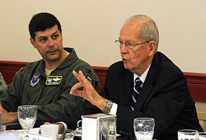 Larry D. Welch - 8/28/2012 - General (retired) Larry Welch, speaks at the Defense Science Board breakfast as Col. Andrew Gebara, the 2nd Bomb Wing Commander, listens at Barksdale Air Force Base, LA. Welch attended the breakfast to meet with Airmen and discuss work-related issues and possible solutions while conducting a two-year follow up on Barksdale AFB after the creation of Air Force Global Strike Command.