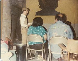Alurista - Alurista gives a reading at Colegio Cesar Chavez in Mt. Angel, Oregon, circa 1981.