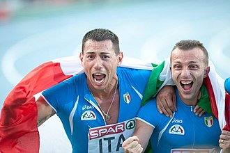 Athletics in Italy - Simone Collio and Emanuele Di Gregorio, two members of national 4x100 metres relay team.