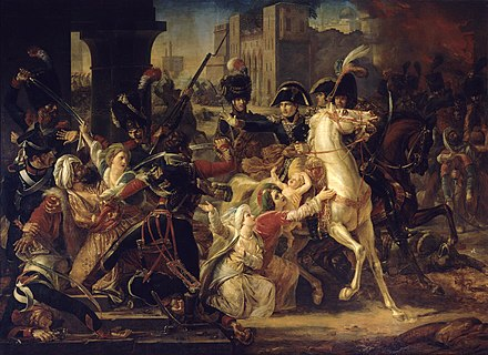 Entry of General Bonaparte into Alexandria, oil on canvas, 365 cm x 500 cm (144 in x 197 in), c. 1800, Versailles Colson Entree de Napoleon a Alexandrie.JPG