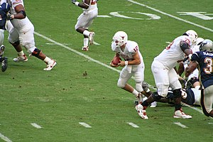 Quarterback keeper - Colt McCoy runs a keeper.