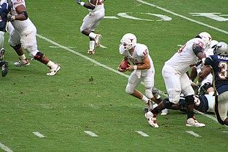 Quarterback keeper - Colt McCoy runs a keeper.