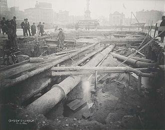 Columbus Circle - Columbus Circle during construction of the original subway in 1900