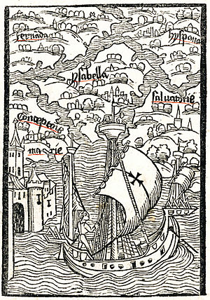 Columbus's letter on the first voyage - The six islands of the Indies, woodcut from the 1494 Basel edition of Columbus's letter