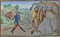 Combat de Geoffroy la Grand Dent et de Grimault (BNF ms fr 24383, fol 33v Roman de Melusine-Coudrette).jpg