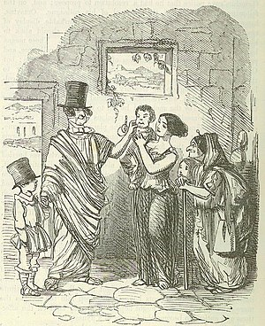 Tiberius Gracchus - Tiberius Gracchus canvassing. Image by John Leech, from: The Comic History of Rome by Gilbert Abbott à Beckett. The top hat worn by Gracchus is a deliberate anachronism intended to compare him to 19th Century British politicians.