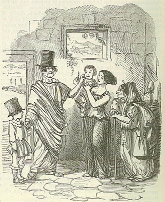 Tiberius Gracchus canvassing. Image by John Leech, from: The Comic History of Rome by Gilbert Abbott a Beckett. The top hat worn by Gracchus is a deliberate anachronism intended to compare him to 19th Century British politicians. Comic History of Rome p 238 Tib Gracchus canvassing.jpg