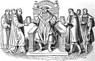 Criticism of Protestantism - Confutatio Augustana (left) and Confessio Augustana (right) being presented to Charles V