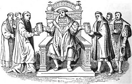 Confutatio Augustana (left) and Confessio Augustana (right) being presented to Charles V Confutatio Augustana and Confessio Augustana.jpg