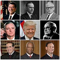 Collage von neun amerikanischen Konservativen: Ronald Reagan, Calvin Coolidge, Barry Goldwater, William F. Buckley Jr., Donald Trump, Milton Friedman, Antonin Scalia, Clarence Thomas, Samuel Alito