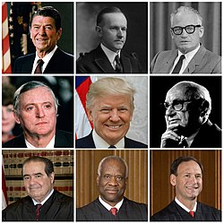 Collage of nine American conservatives: Ronald Reagan, Calvin Coolidge, Barry Goldwater, William F. Buckley Jr., Donald Trump, Milton Friedman, Antonin Scalia, Clarence Thomas, Samuel Alito
