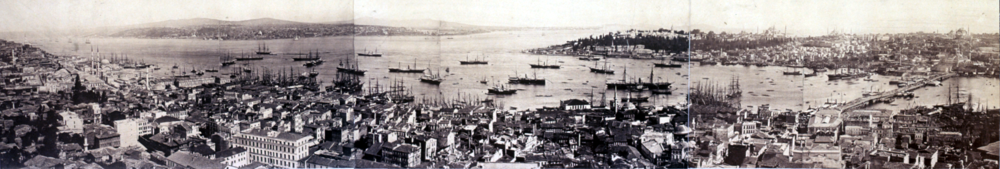 Panoramic view of the city in the 1870s as seen from the Galata Tower