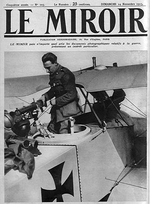 Jean Navarre - Jean Navarre inspecting a captured German aircraft (Le Miroir, 14 November 1915).