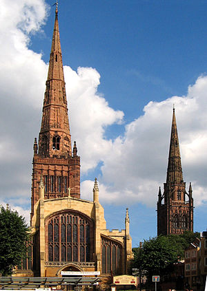 History of Coventry - Two of Coventry's three spires; Holy Trinity Church on the left, and the spire of the old ruined cathedral (St. Michael's) on the right