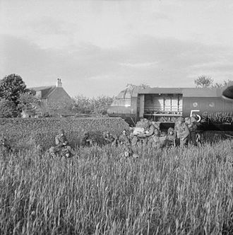 Operation Mallard - A Horsa glider, which crashed through a stone wall during landing.