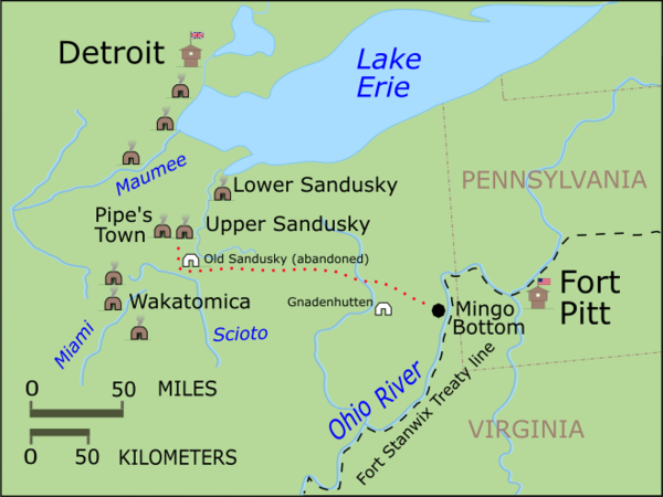 Upper Sandusky and surrounding villages at the time of the 1782 Sandusky Expedition. Crawford expedition.PNG