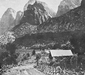 Zion National Park - A ranch near the mouth of Zion Canyon (c. 1910s)