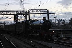 Crewe - GWR 4965 with Chester carol train.JPG