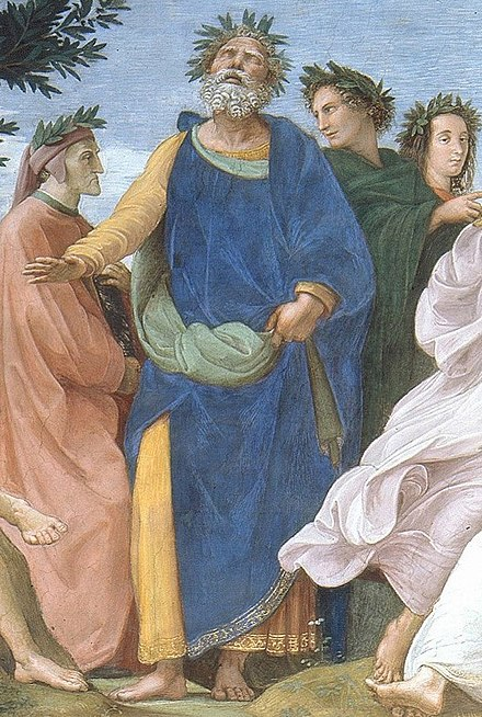 Detail of The Parnassus (painted 1509-1510) by Raphael, depicting Homer wearing a crown of laurels atop Mount Parnassus, with Dante Alighieri on his right and Virgil on his left Cropped image of Homer from Raphael's Parnassus.jpg