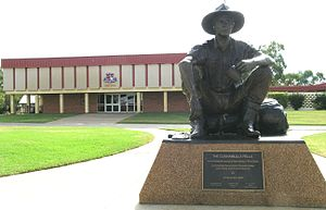 Shire of Paroo - The current Paroo Shire Hall with statue of the Cunnamulla Fella (from the Stan Coster song famously performed by Slim Dusty) in the foreground