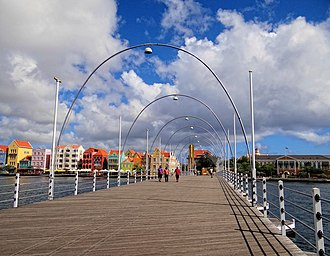 Queen Emma Bridge - The bridge seen from the Otrobanda end towards Punda