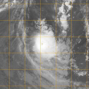 Cyclone Pat - Infrared satellite image of Cyclone Pat as it passed over Aitutaki on February 10