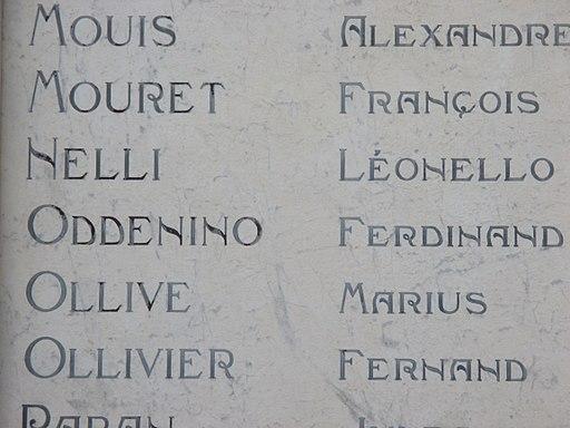 Détail de l'inscription des noms des morts de la première guerre mondiale, cour de la mairie. Draguignan