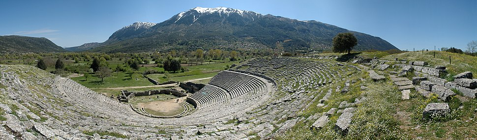 Panorama of the theatre of Dodona, the modern village Dodoni and the snow-capped Mount Tomaros are visible in the background